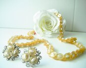 Beautiful Yellow Button & Bead Jewelry Set