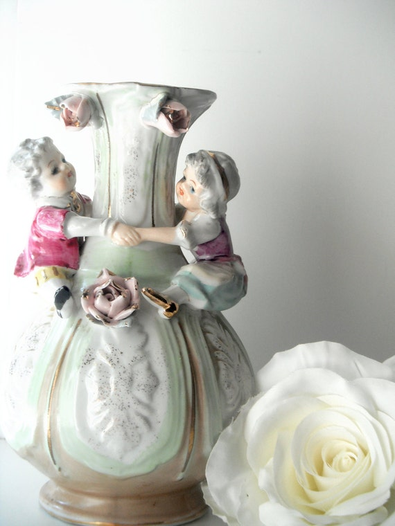 Green and Gold Vase with Children and Roses
