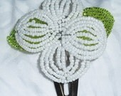 French Beaded White Fascinator Ceylon Polished Glass Hair Clip Bridal Pearlescent