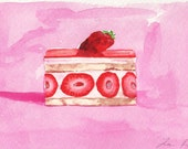 Strawberry Shortcake Slice Original Watercolor Painting Red Pink 4 x 6 FREE shipping