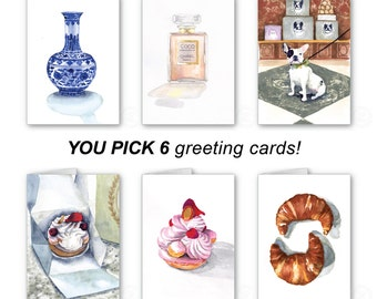 YOU CHOOSE Notecard Set Watercolor Art - Old Hollywood icons, perfumes, Laduree desserts, flowers, florals, Chanel - gift box set