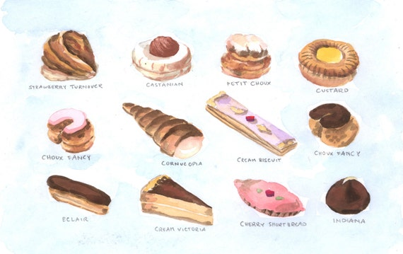 Pastry Fancies Desserts Sweets Menu ORIGINAL Watercolor Painting 5.5 x 8.5 - FREE Shipping