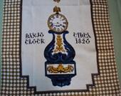 Vtg. Virginia Zito Unused Linen Tea Towel, Banjo Clock Circa 1820