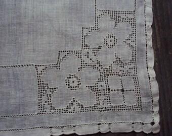 Antique White Linen Hanky Wedding Drawn Work