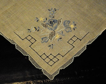 Vtg. Embroidered Hanky, Cutwork Drawn Work Lace Inset Blue White