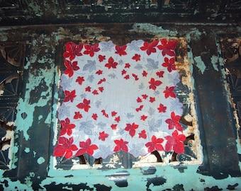 Vtg. Hanky, Red Gray Scalloped Leaves