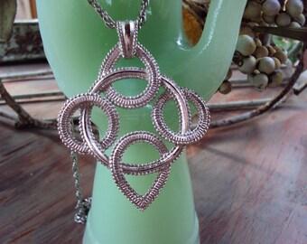 Retro 70s Celtic Knot Pendant & Chain Silvertone