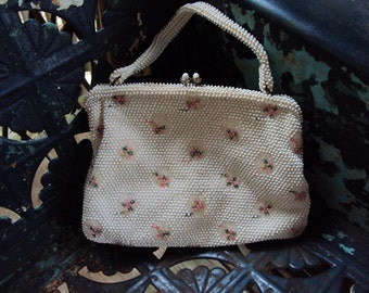 Vtg. Medium Beaded Lumured Purse