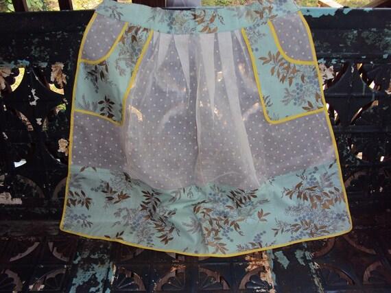 Vtg. Apron, Flocked Organza Turquoise Cotton Trim