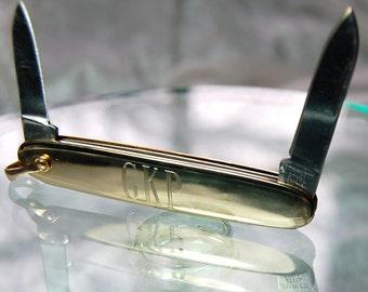 Sleek Vintage Gold Tone Stainless Steel Pocket Knife GKP - Low Shipping