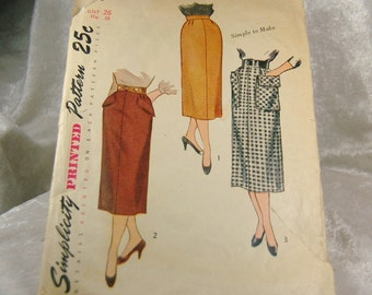 Vintage Simplicity Pencil Skirt Pattern 3330 -  Used -  Waist 26 Hips 35  - 1950s
