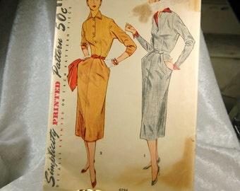 Vintage Simplicity Pencil  Dress Pattern 494 -  Size 16  Bust 34 - 1950s