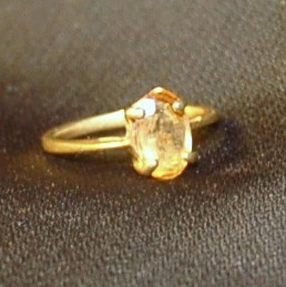 Vintage Estate 12K Gold and Citrine Pinky Ring Sz 2.5 Artisan Made Elegant Simplicity