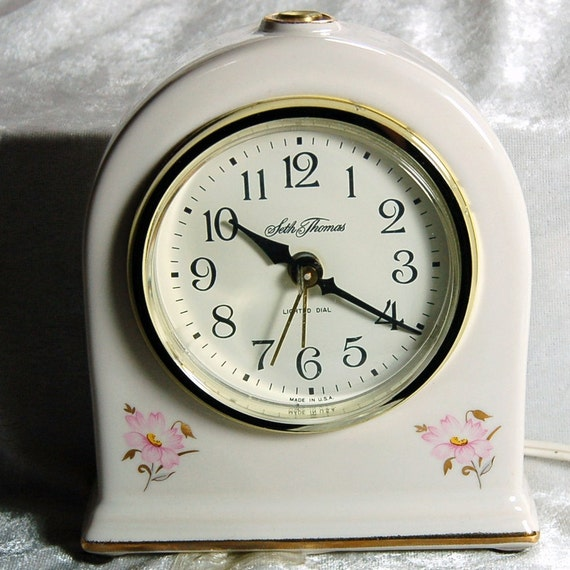 SALE Vintage Seth Thomas Porcelain Electric Alarm Clock - Ivory and Pink Floral - Cleaned and Working