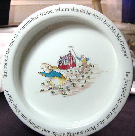 Vintage Wedgewood Beatrix Potter Peter Rabbit Porringer - Stop Thief - Made in  England