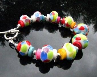 Handcrafted Lampwork Bracelet Handmade Rainbow Candy Glass Beads SRA / SRAJD