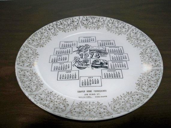 1974 calendar plate