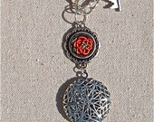 Rose and Filigree Locket Necklace with hand embroidered