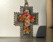 Hand Embroidered Cross Pendant Cheer and Joy