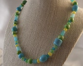 "Bright Beaded Necklace - Vibrant Blue, Green and Yellow Glass Beads - ""Fiesta"""