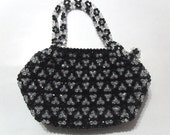 Beaded Black and White Handbag / Purse, Black and White Bead Handbag, Elegant Black and White Purse, Beadwork Purse, Bead Handbag