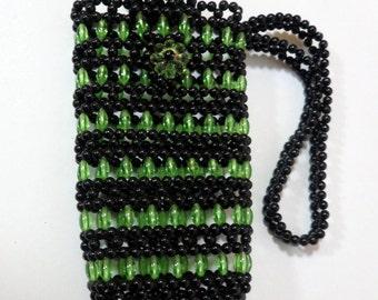 Beaded Cellphone Case Wristlet, Bead Wristlet, Beadwork Wallet, Green Black Phone Holder, Beaded Glasses Holder, Handmade Beaded Wristlet