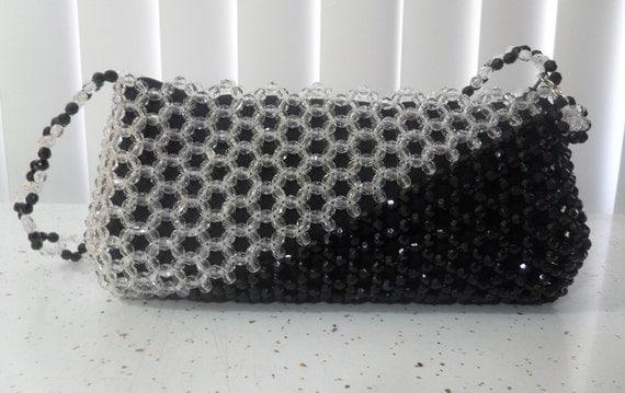 Bead Shoulder Bag, Purse Black White, Assymetrical Diagonal Handbag, Black and White, Bead Black & White shoulder bag, Bead Evening Purse