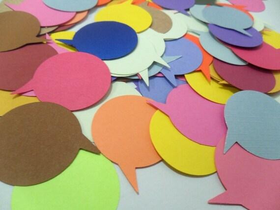 Speech Bubble Embellishments, Round Speech Bubble Confetti, Paper Decors