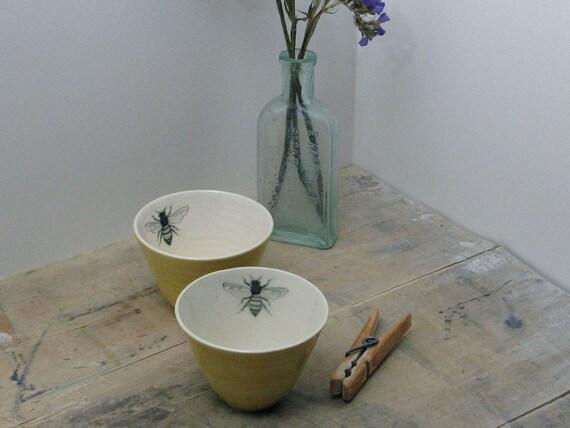 Yellow Bee Tea Bowls