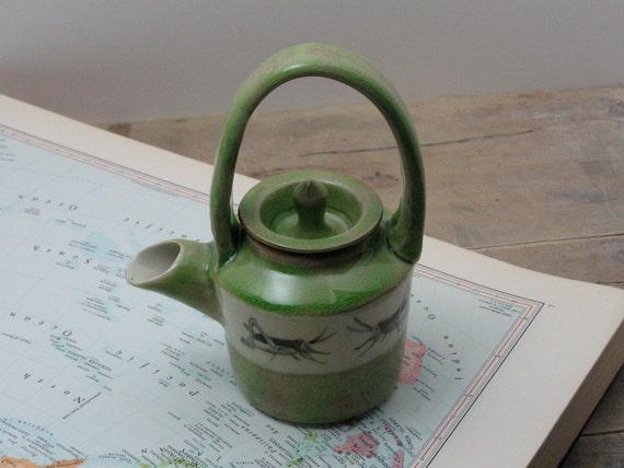Porcelain Emerald Green Grasshopper Tiny Teapot