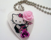 Hello Kitty Guitar Pick Necklace
