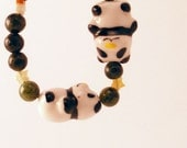 Green Stars Panda gemstone stretch Bracelet
