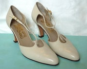 Vintage Ferragamo Cream Colored High Heels, Size 7