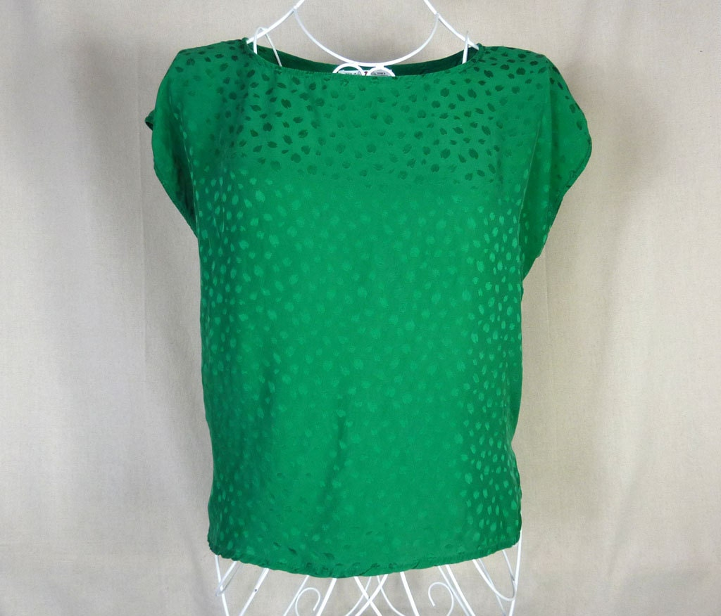 Vintage 80s Emerald Green Silk Blouse Size XL