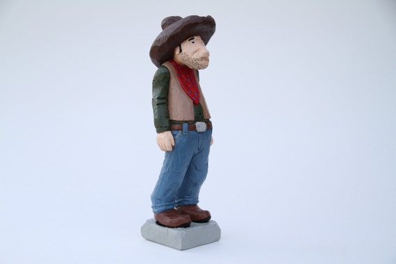 Hand Carved Cowboy Caricature, Wooden Sculpture