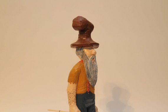 Hand Carved Hillbilly Fisherman, Caricature, Sculpture