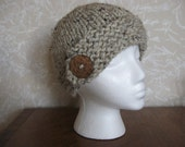 Womens chunky knit hat with button