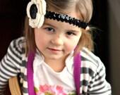 Crochet flower headband in ivory and cherry blossom pink - organic cotton