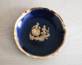 Vintage Limoges small plate - cobalt blue and gold