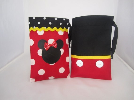 Order for Candice- Minnie Mouse or Mickey Mouse Fabric Party Favor Bags