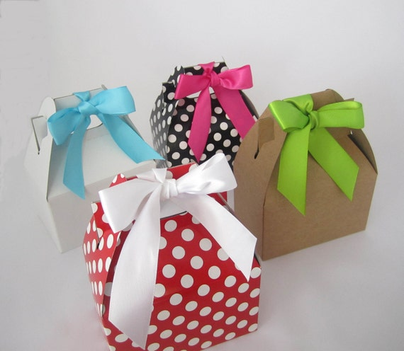 Set of 5 Mini Gable Top Boxes- w/ Satin Ribbon Bows - Black Polka Dot - Red Polka Dot - White - Kraft