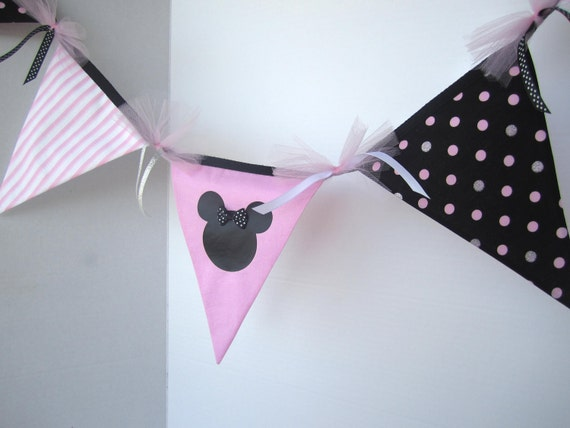 CLEARANCE Light Pink Minnie Mouse Party Decoration or Baby Pink Minnie Bedroom Decor - 10 Flag Banner / Bunting