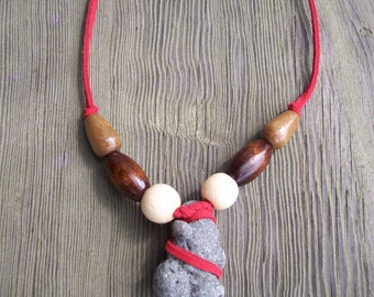Beachstone and red suede necklace