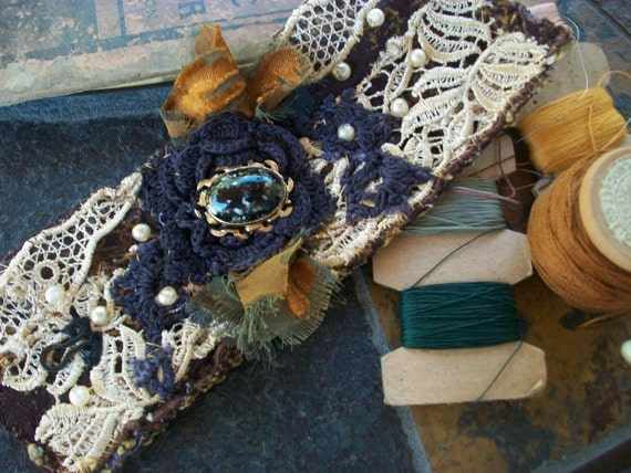Cuff, Lace, Vintage Jewelry, Flower, Faux Pearls