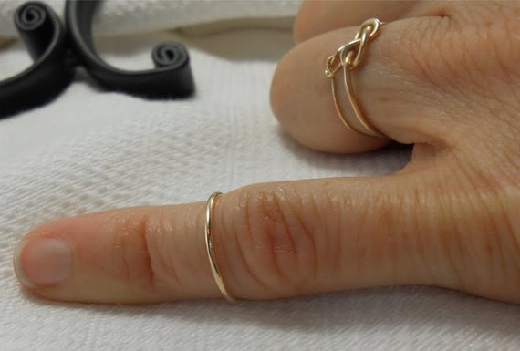 Knuckle ring, 14k gold, Mid finger layering ring, NON TARNISH Gold won't rub off