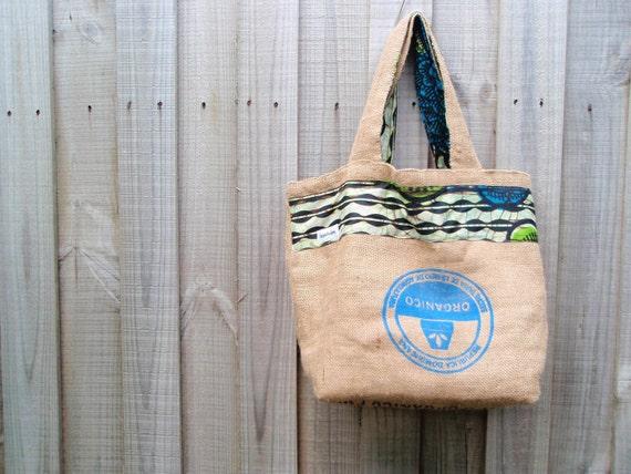 Fairtrade Organic Republica Dominicana Coffee Sack Bag with East African Wax Print Fabric