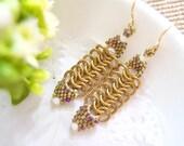 Gold Chainmaille Earrings, Gold Dangle Earrings, White Swarovski Crystals, Beaded Earrings, Luxe Style, OOAK Earrings by JeannieRichard