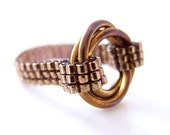 Brass Infinity Ring, Infinity Ring, Chainmaille Ring, Beaded Ring, Love Ring