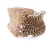 Patina Brass Cuff, Gold Beaded Cuff, Statement OOAK Cuff, Gold Chainmaille Cuff, Cleopatra Inspired, Handmade JeannieRichard