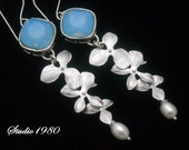 Bridal earrings, Blue Opal earrings, Orchid earrings, Bridal jewelry, crystal sterling silver jewelry